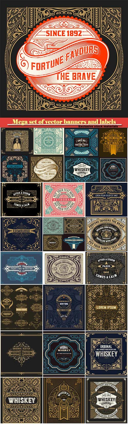 Mega set of vector banners and labels