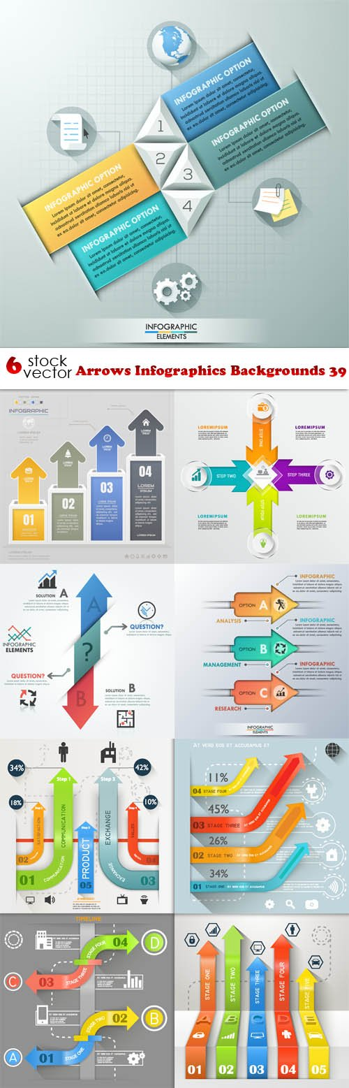 Vectors - Arrows Infographics Backgrounds 39