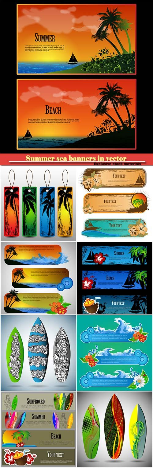 Summer beaches and sea banners in vector