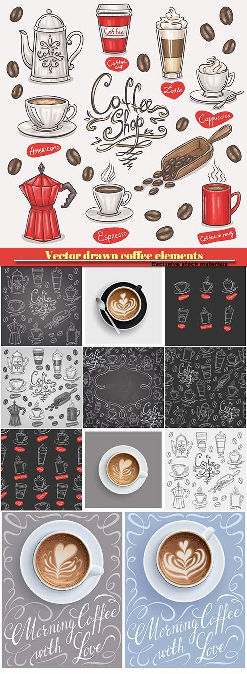 Vector drawn coffee elements