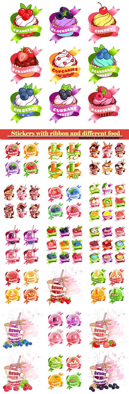 Stickers with ribbon and different fruits juices and milkshakes, cupcakes