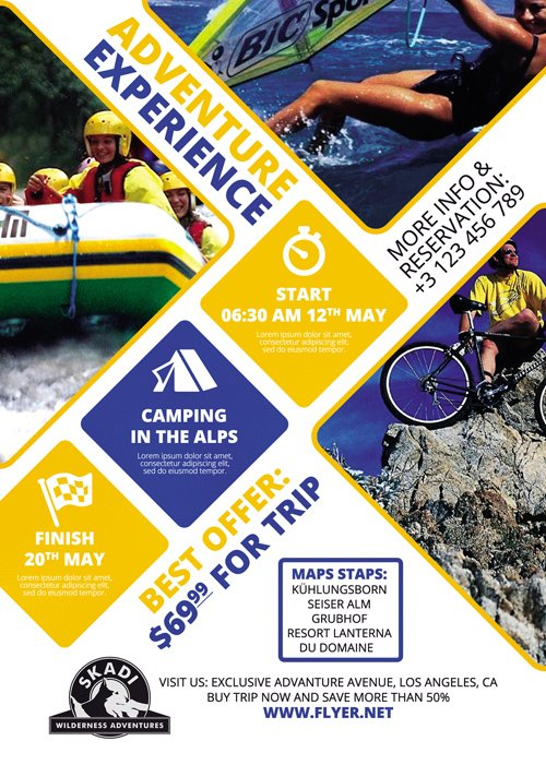 Premium A5 Flyer Template - Camping Adventure