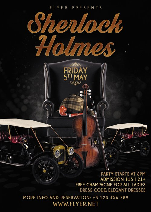Premium A5 Flyer Template - Sherlock Holmes Party