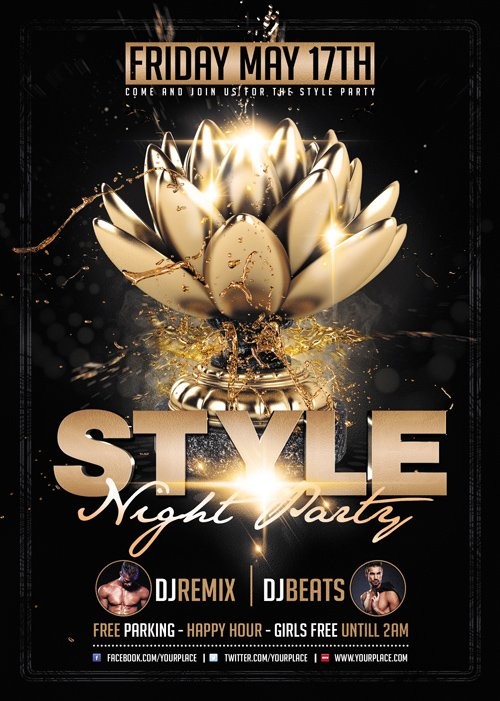 Premium A5 Flyer Template - Style Night Party