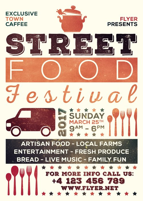 Premium A5 Flyer Template - Street Food Festival