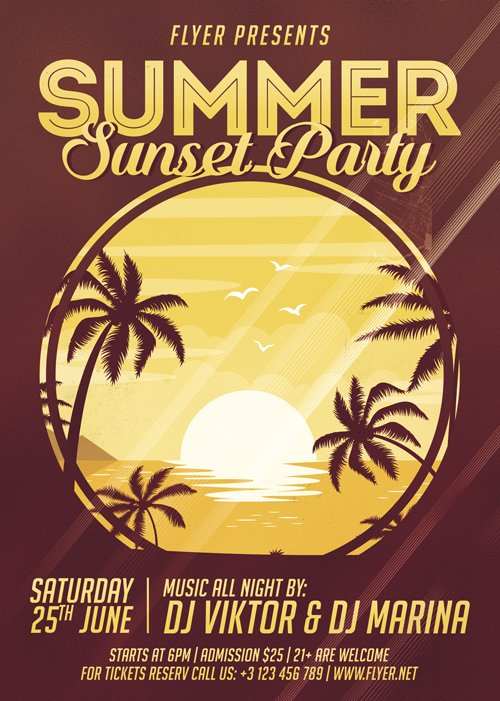 Premium A5 Flyer Template - Summer Sunset Party