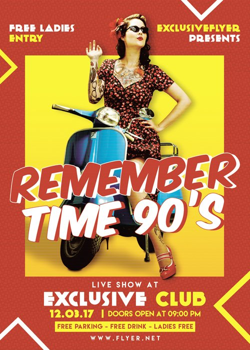 Premium A5 Flyer Template - Remember Time 90s