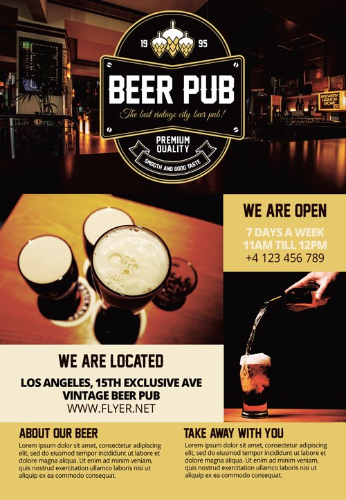 Premium A5 Flyer Template - Beer Pub