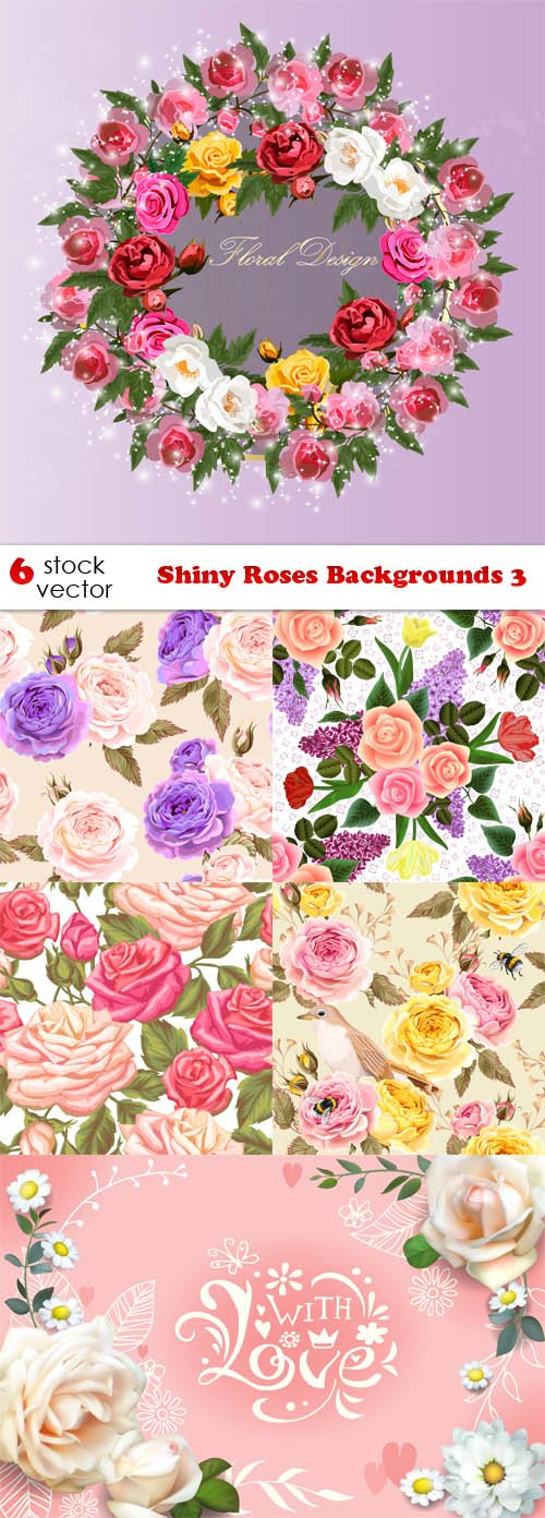 Vectors - Shiny Roses Backgrounds 3