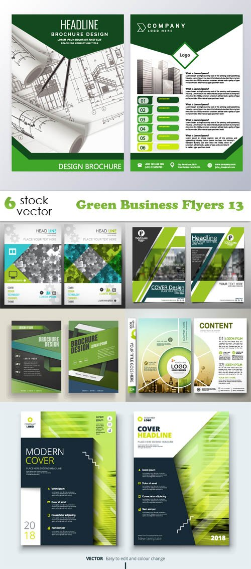 Vectors - Green Business Flyers 13