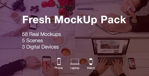 Fresh Mockup Pack // Phone, Laptop, Watch Devices - Project for After Effects (Videohive)