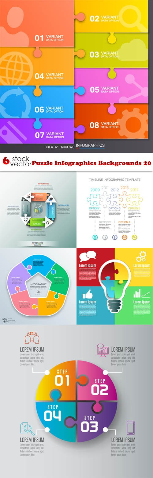 Vectors - Puzzle Infographics Backgrounds 20