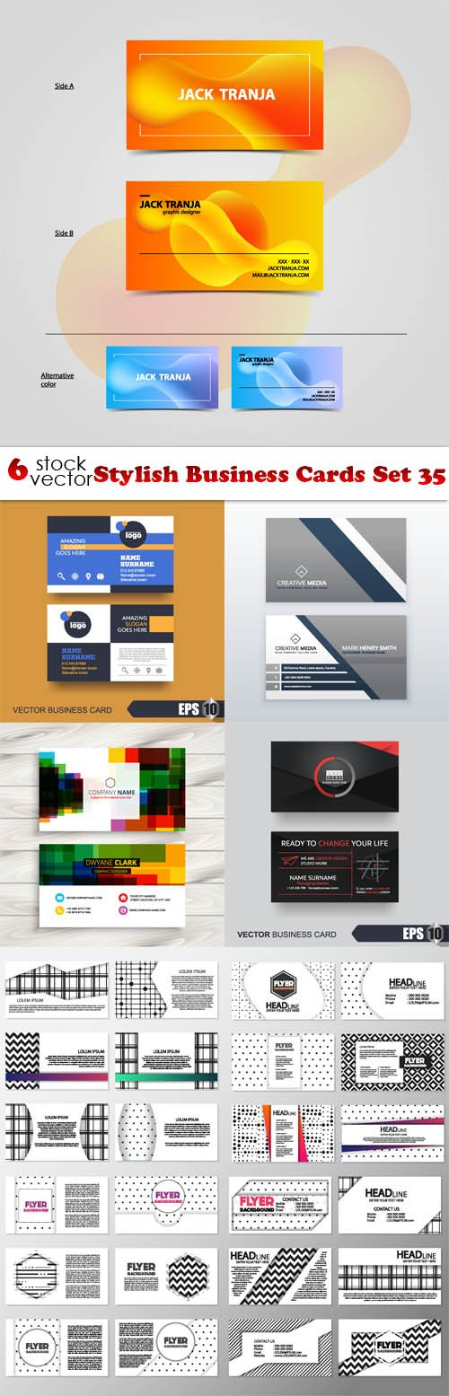 Vectors - Stylish Business Cards Set 35