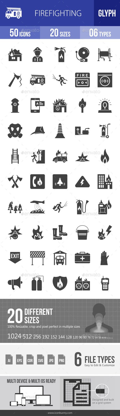Firefighting Glyph Icons 18422506