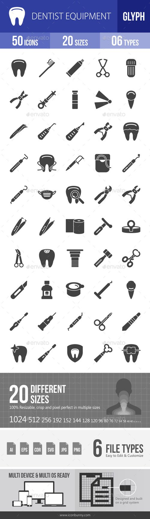 Dentist Equipment Glyph Icons 18081718
