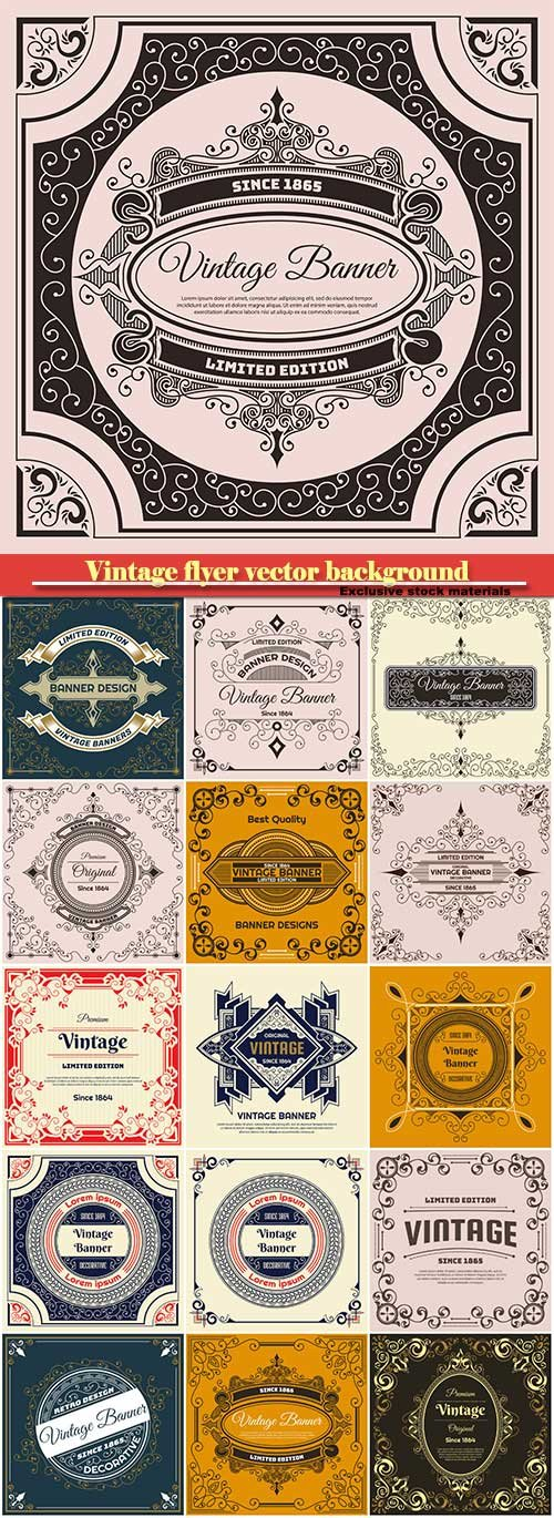 Vintage flyer vector background design template