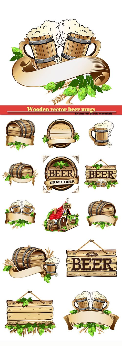 Wooden vector beer mugs and beer barrel still life