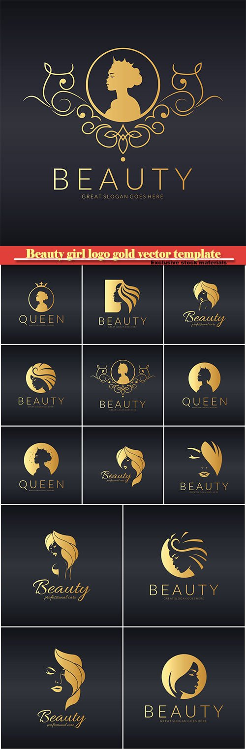 Beauty girl logo gold vector template