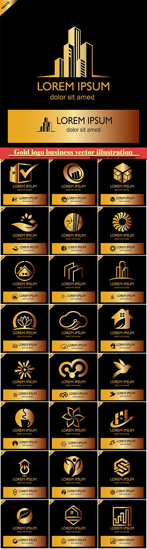 Gold logo business vector illustration #17