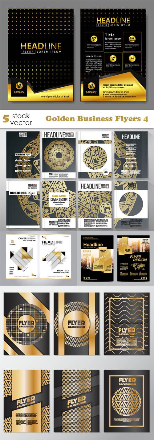 Vectors - Golden Business Flyers 4