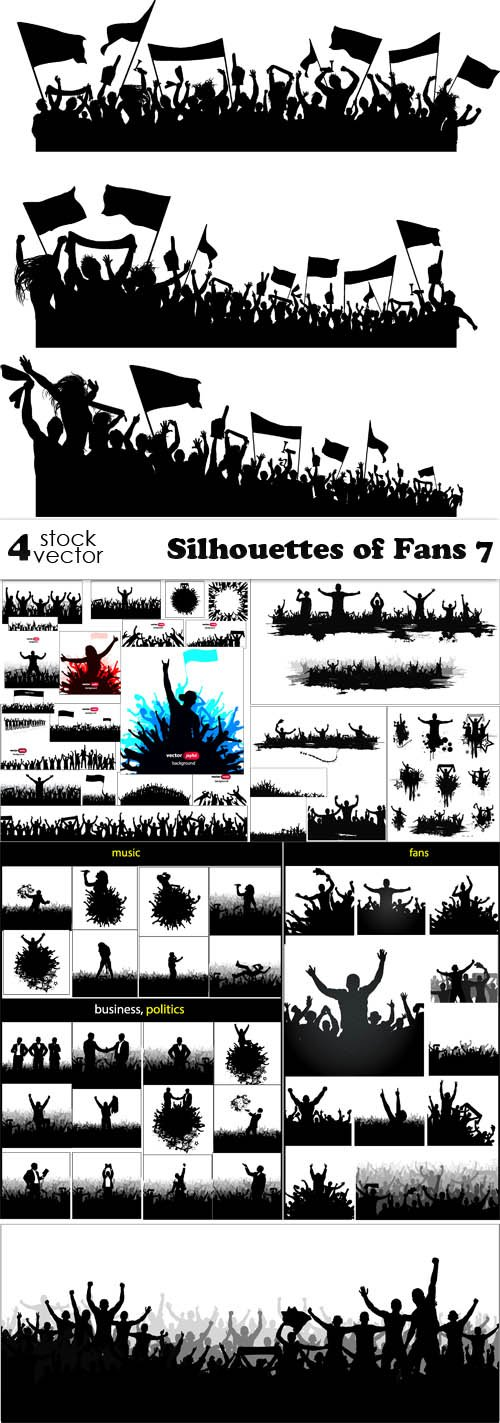 Vectors - Silhouettes of Fans 7