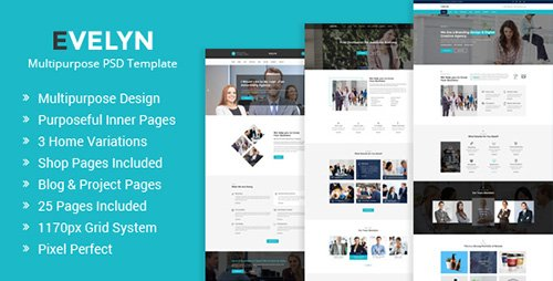 ThemeForest - Evelyn v1.0 - Multipurpose Business and Agency PSD Template - 20003757