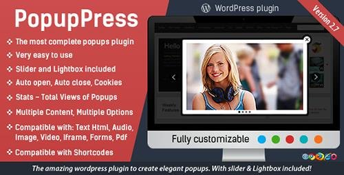 CodeCanyon - PopupPress v2.7.0 - Popups with Slider & Lightbox for WordPress - 5197157