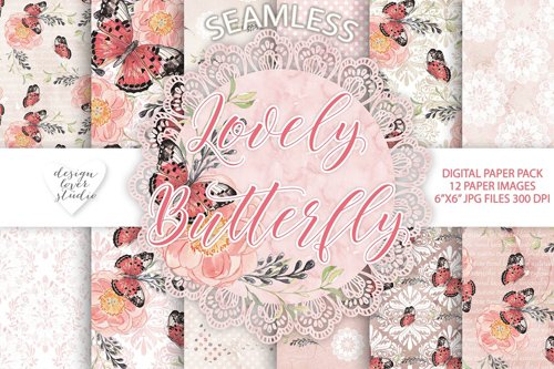 Lovely butterfly digital papers