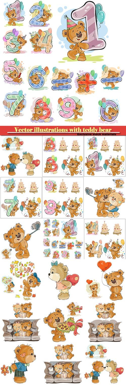 Vector illustrations with teddy bear, design elements for birthday greeting cards