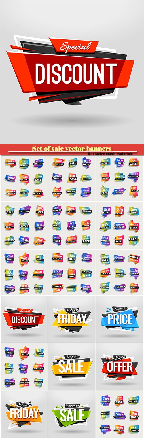 Set of sale vector banners, shopping tags