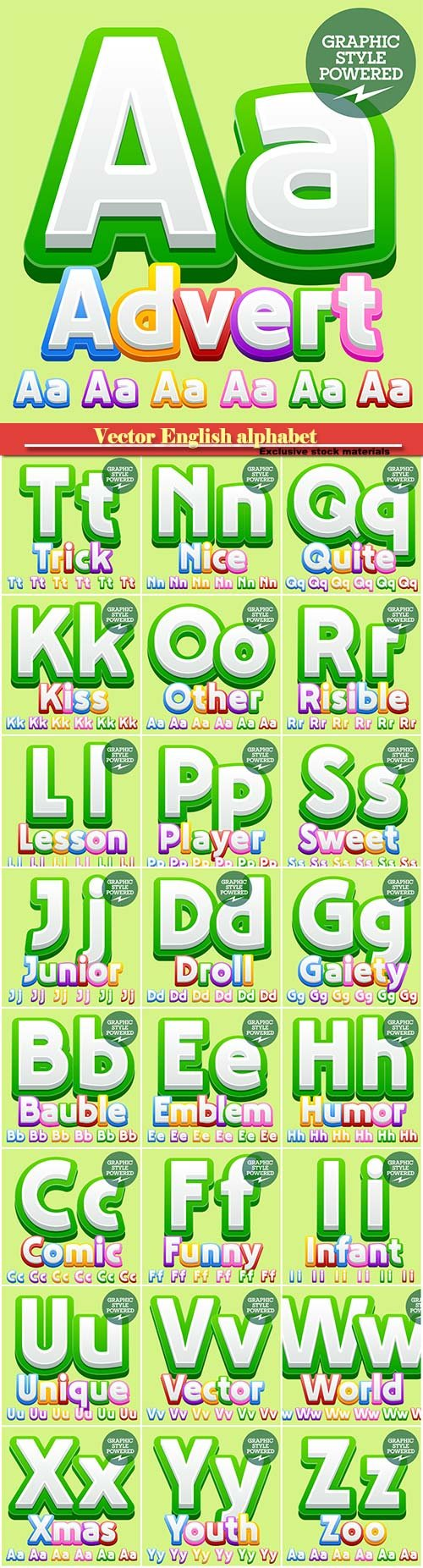 Vector English alphabet in bright colorful design