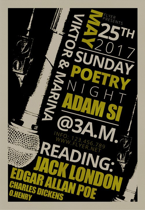 Premium A5 Flyer Template - Sunday Poetry Night