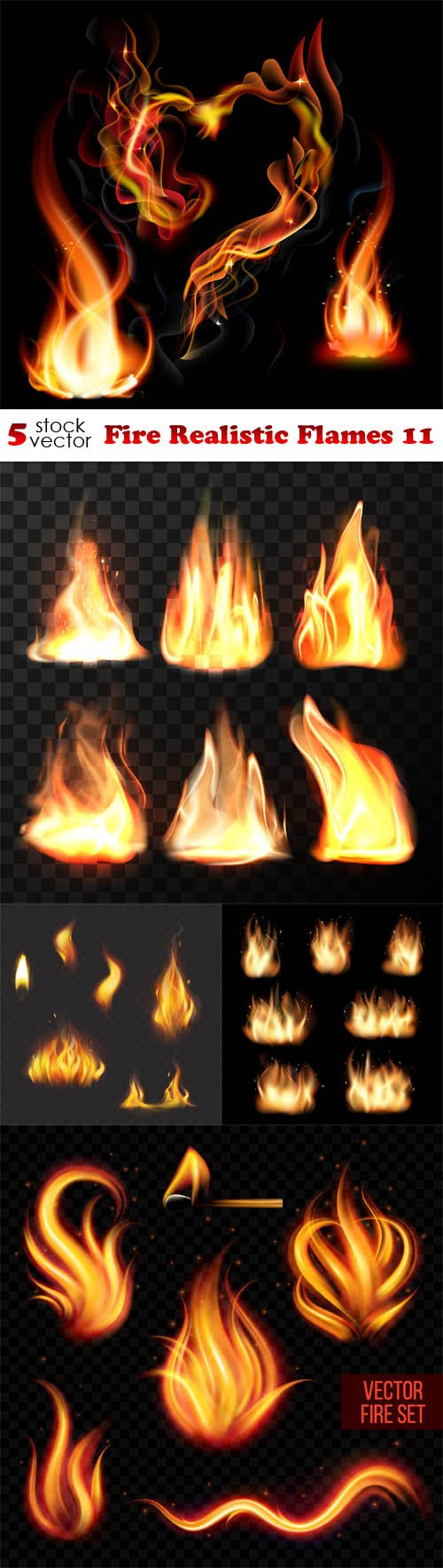 Vectors - Fire Realistic Flames 11