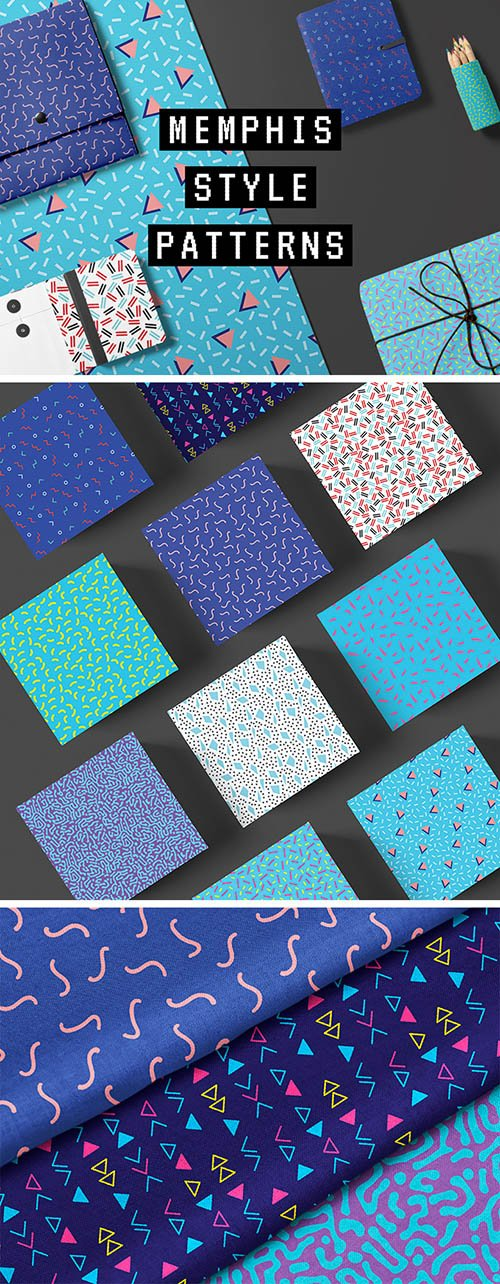EPS, JPG, PNG Vector Patterns - Memphis Style