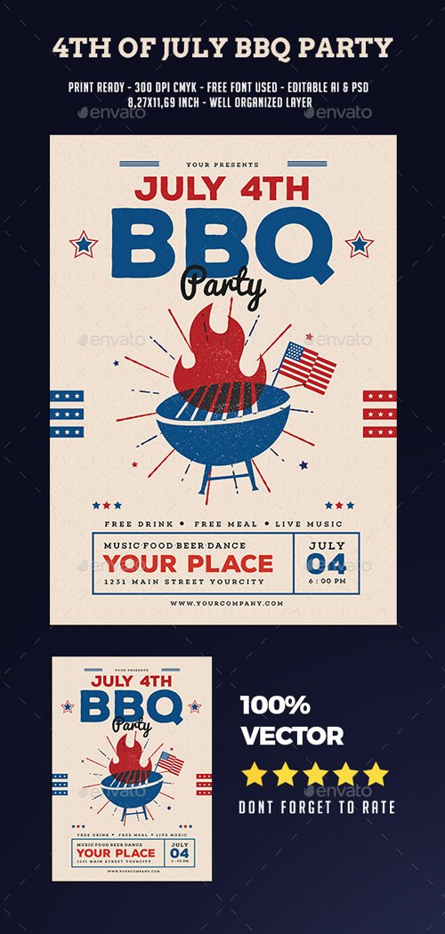 GR - 4th Of July BBQ Party Flyer 20124538