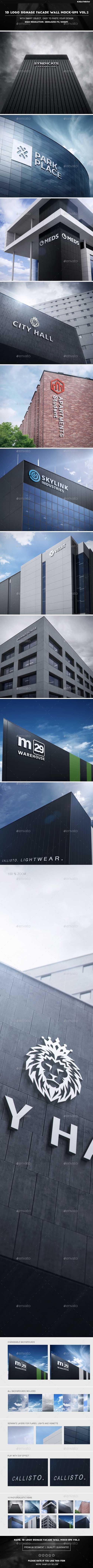 3D Logo Signage Facade Wall Mock-Ups Vol.2 20086646