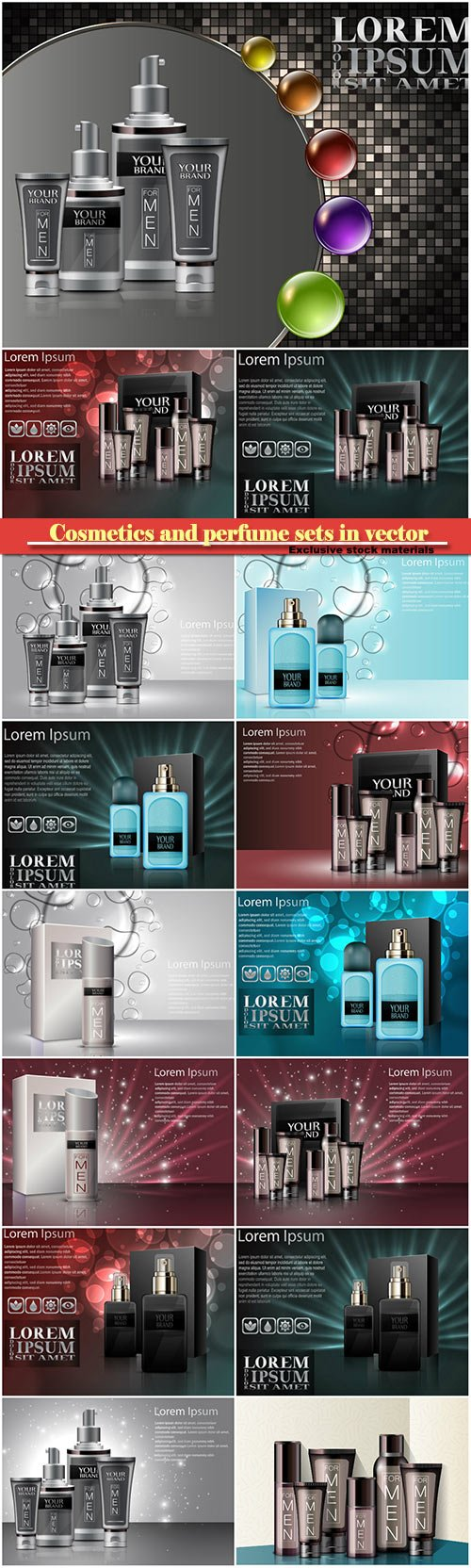 Cosmetics and perfume sets in vector