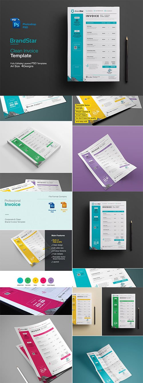 Invoice template contains Photoshop