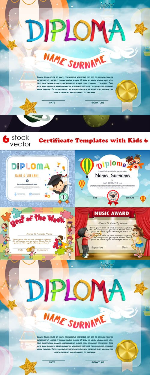 Vectors - Certificate Templates with Kids 6