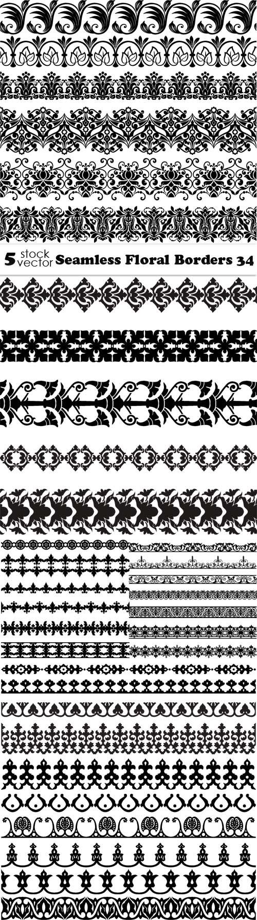 Vectors - Seamless Floral Borders 34