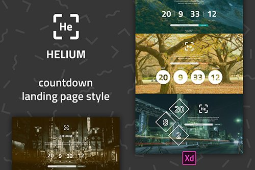 Helium - Countdown Landing Page UI Template