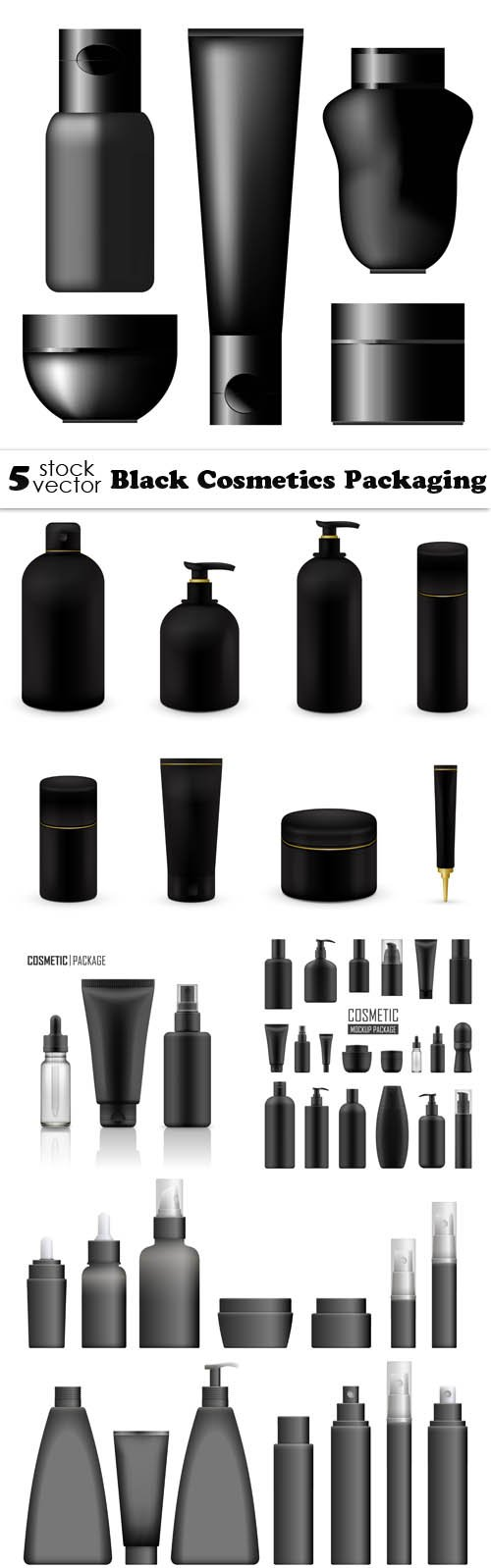 Vectors - Black Cosmetics Packaging
