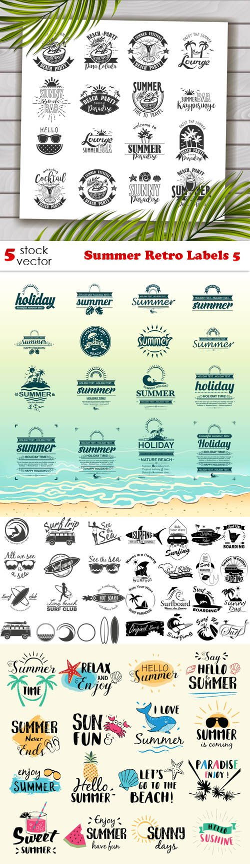 Vectors - Summer Retro Labels 5