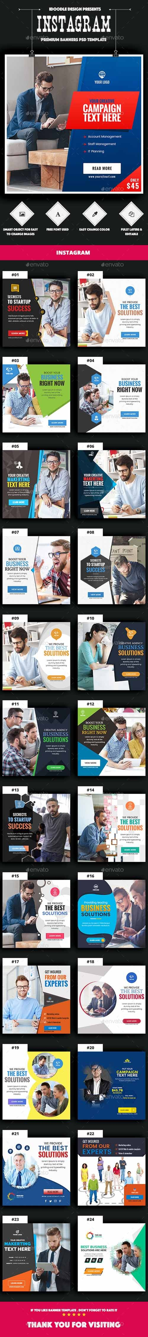Multipurpose, Business, Startup Instagram Banners Ad - 25PSD 20153043