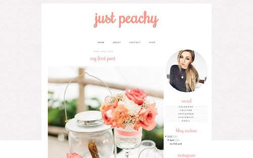 Just Peachy Blogger Template - CM 431831