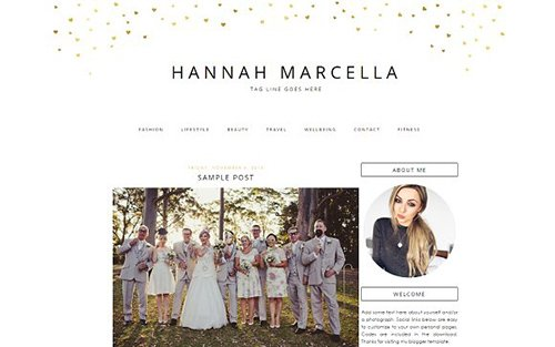Gold Hearts Blogger Template - CM 431572