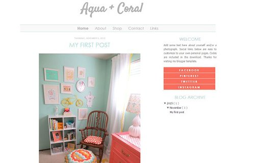 Aqua and Coral Blogger Template - CM 431724