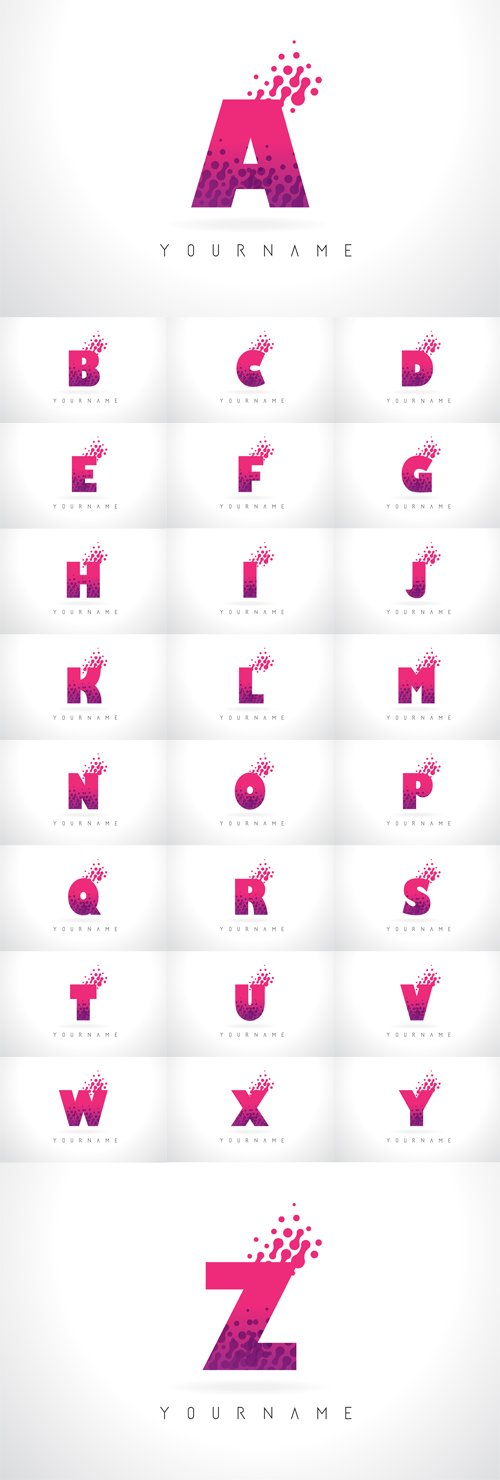 vector letter logo with pink purple color and particles