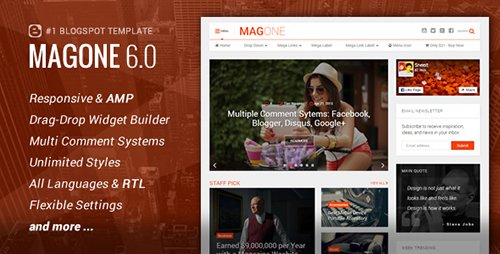 ThemeForest - MagOne v6.2.6 - Responsive News Magazine & Blogger Template - 12016203