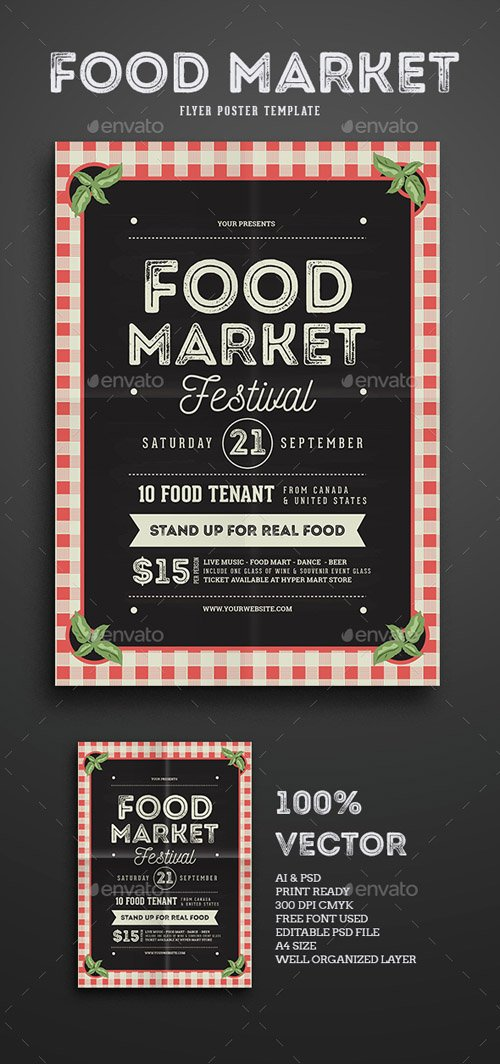 Food Market Flyer template 15311618